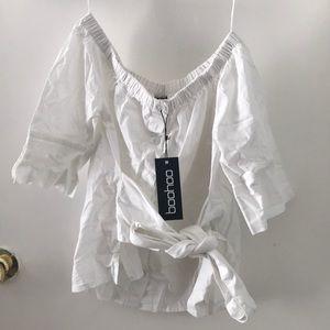 Off shoulder tie waist shirt
